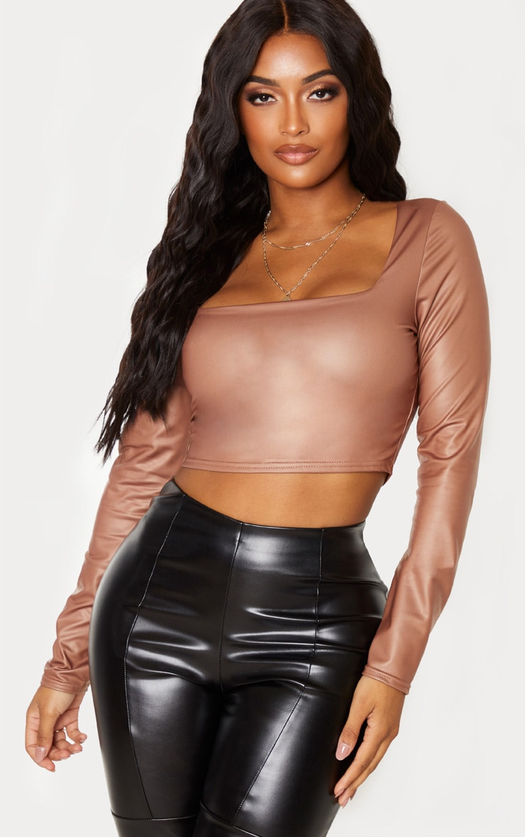 Shape Stone PU Square Neck Long Sleeve Crop Top 1