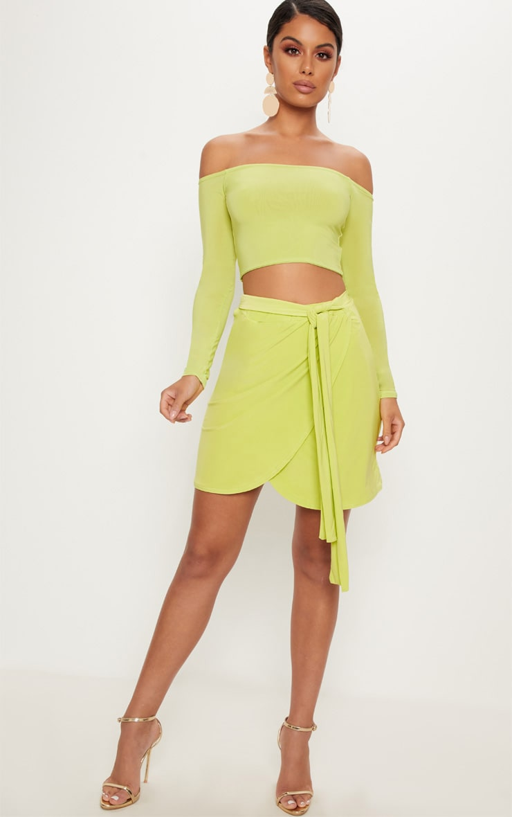 Lime Slinky Tie Waist Wrap Skirt 5