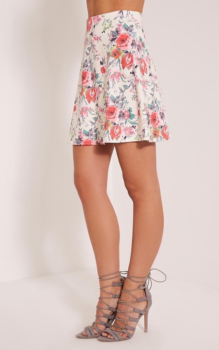Deltie Coral Floral A-Line Mini Skirt 4