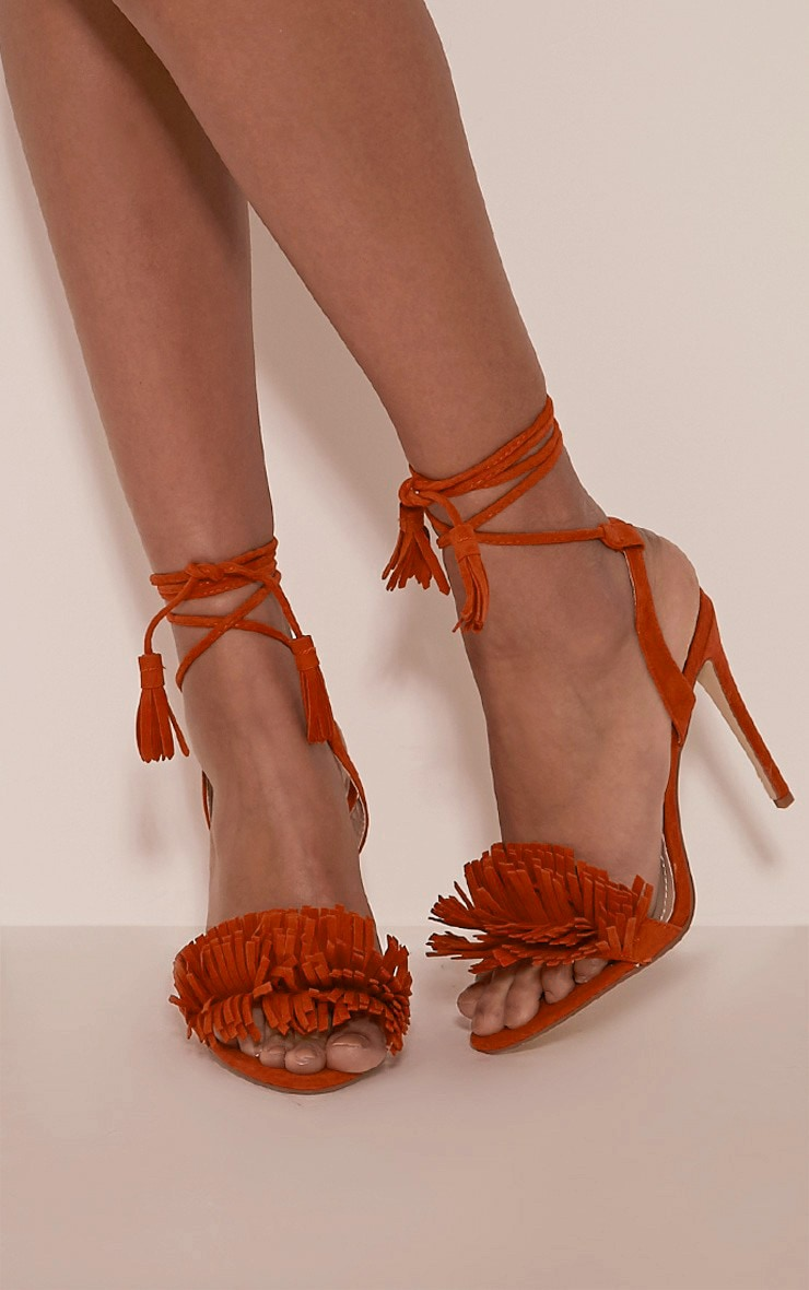 Kasi Orange Fringe Detail Heeled Sandals 1