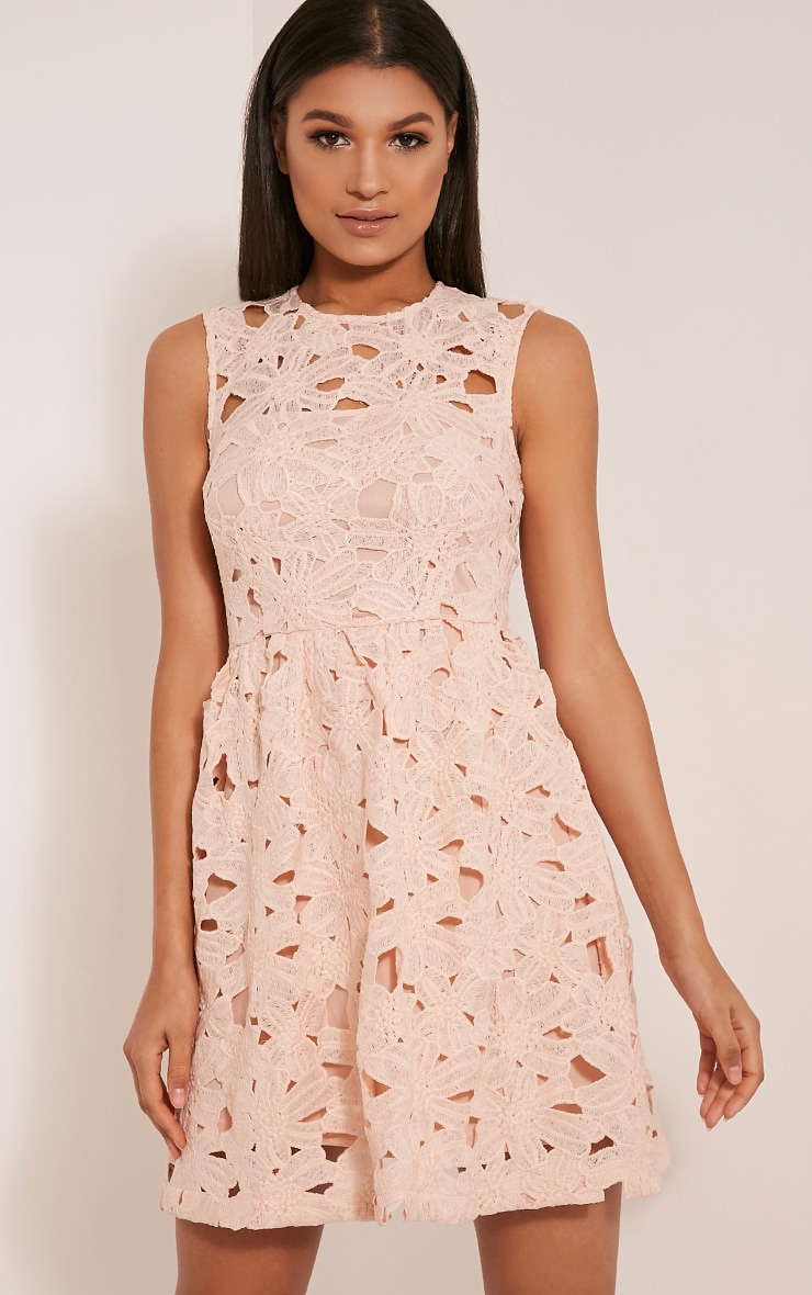 Antonia Nude Crochet Lace Skater Prom Dress 1