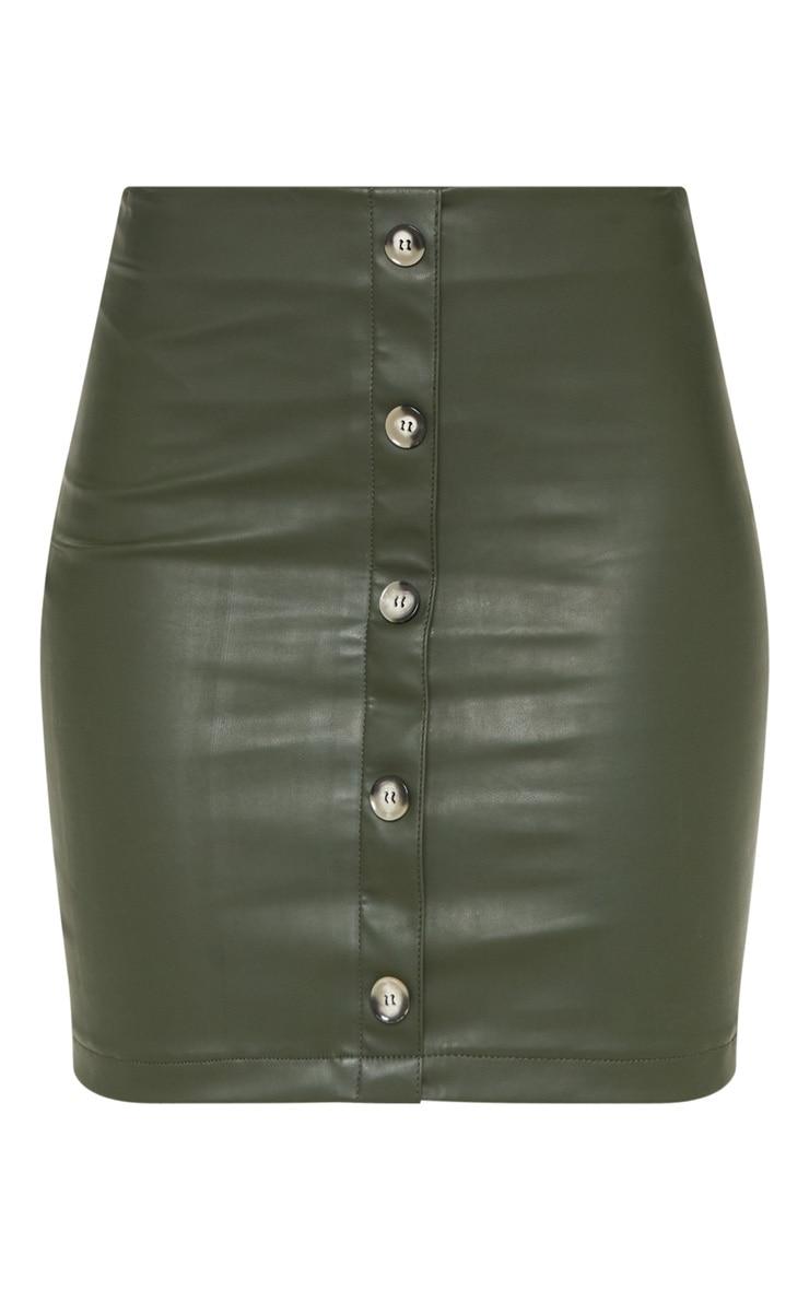 Tall Khaki  Faux Leather Button Detail Bodycon Skirt 3