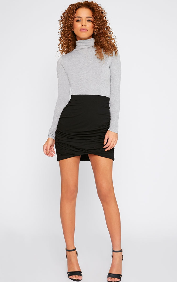 Black Jersey Ruched Mini Skirt  1