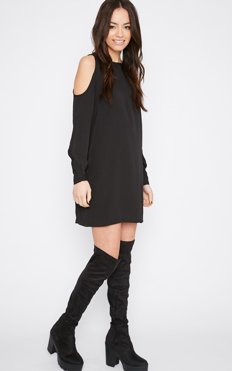 Genny Black Cut Out Shoulder Dress 3