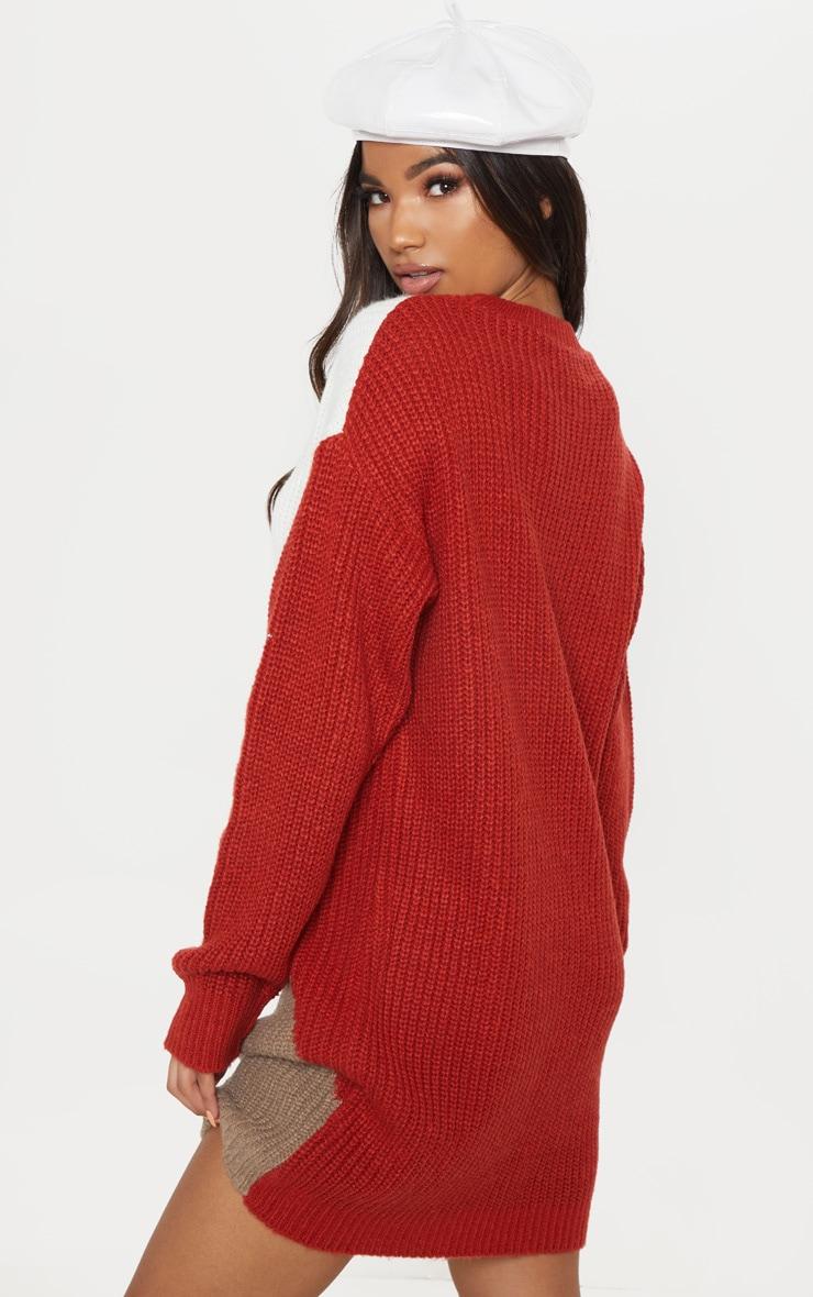 Cream Colour Block Knitted Jumper Dress 2