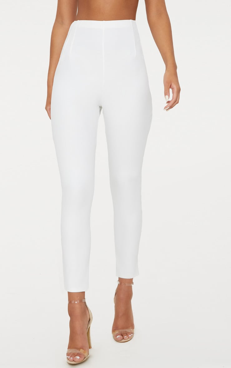White High Waisted Pleat Front Detail Pants 2
