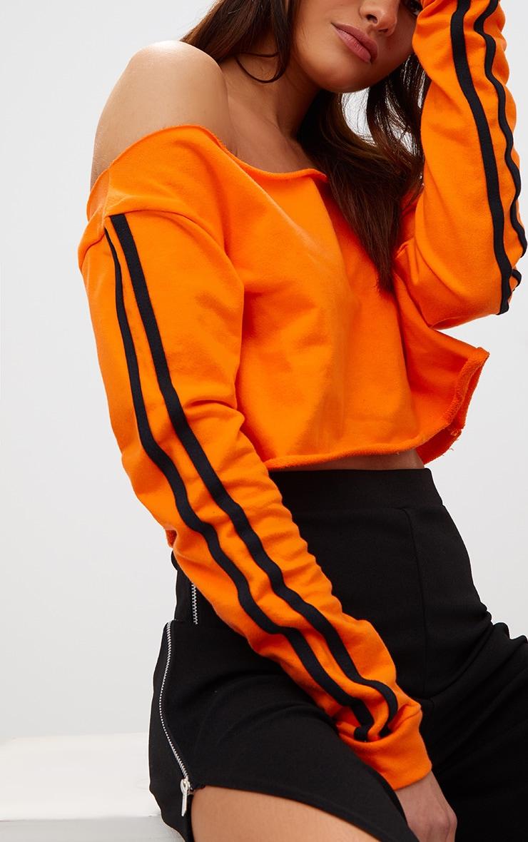 Orange Crop Stripe Sleeve Sweater  5
