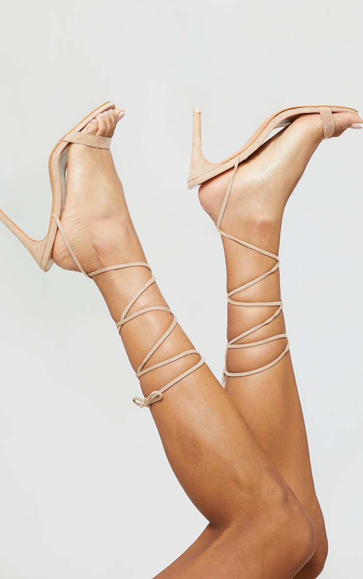 Sand Wide Fit Barely There Ankle Tie Strappy Sandals 2
