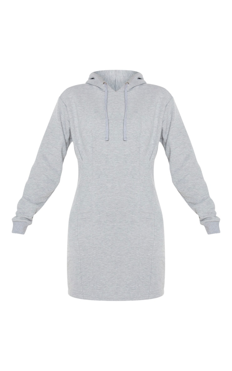 Grey Pleated Hoodie Sweater Dress 3