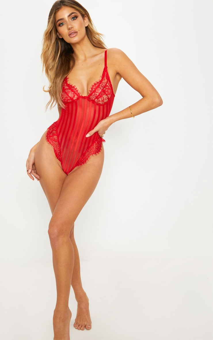 Red Striped Lace Body 5