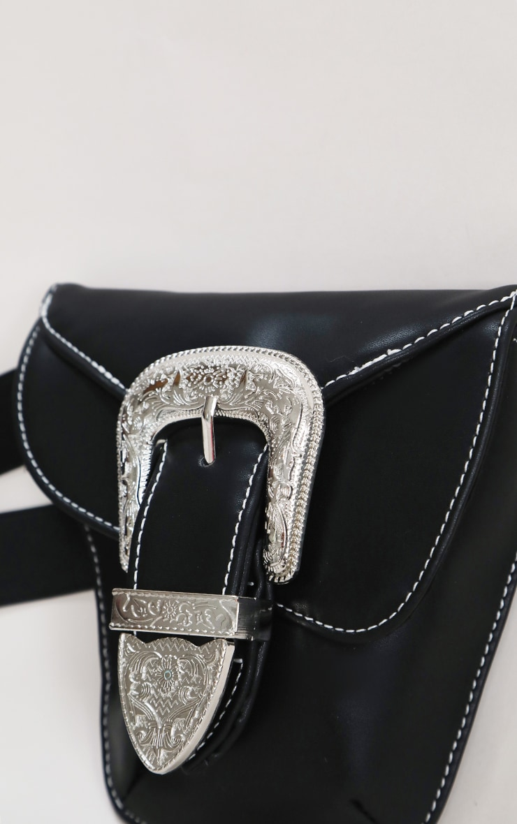 Black Ornate Buckle Waist Belt Bag 7