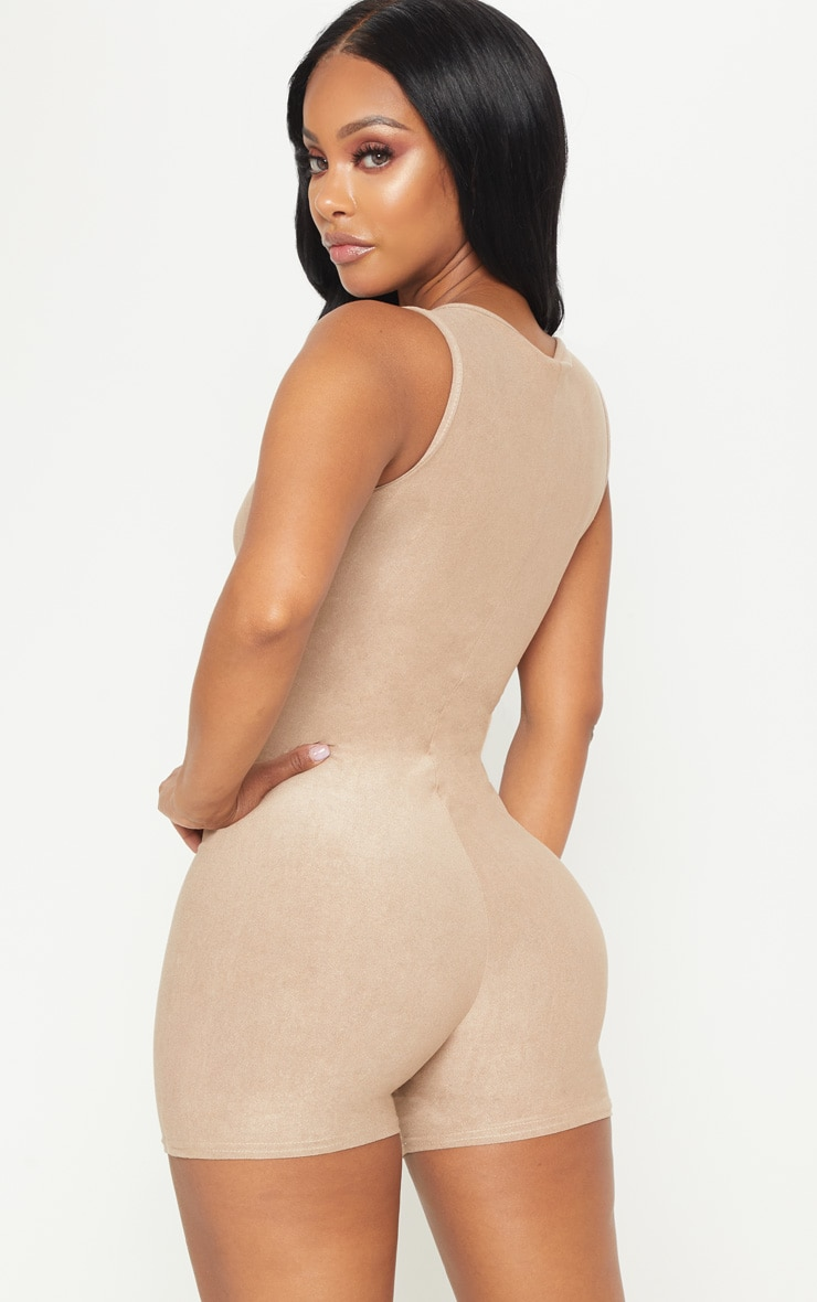 Shape Tan Faux Suede Plunge Unitard 2