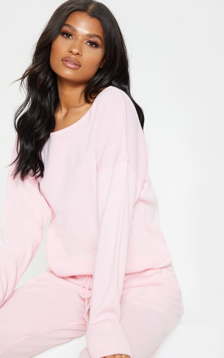 Pink Jogger Jumper Knitted Lounge Set 5