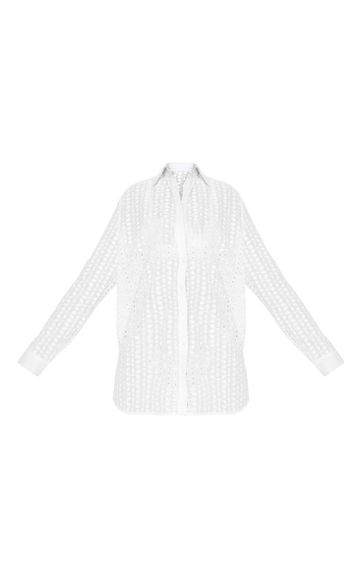 White Broderie Anglaise Beach Shirt 3