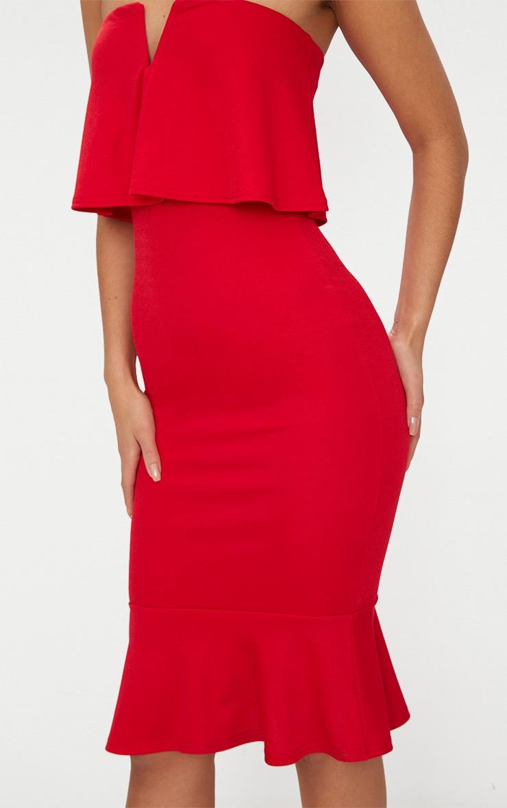 Red Bandeau V Bar Frill Hem Midi Dress 5