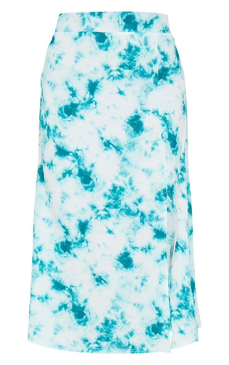Green Tie Dye Floaty Midi Skirt 5