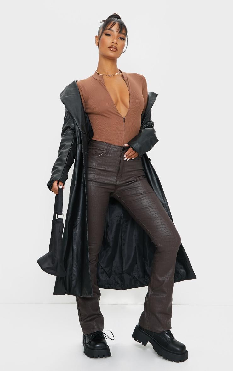 Brown Rib Zip Up Long Sleeve Bodysuit 3