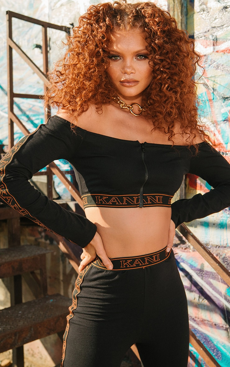 KARL KANI Black Tape Bardot Crop Top