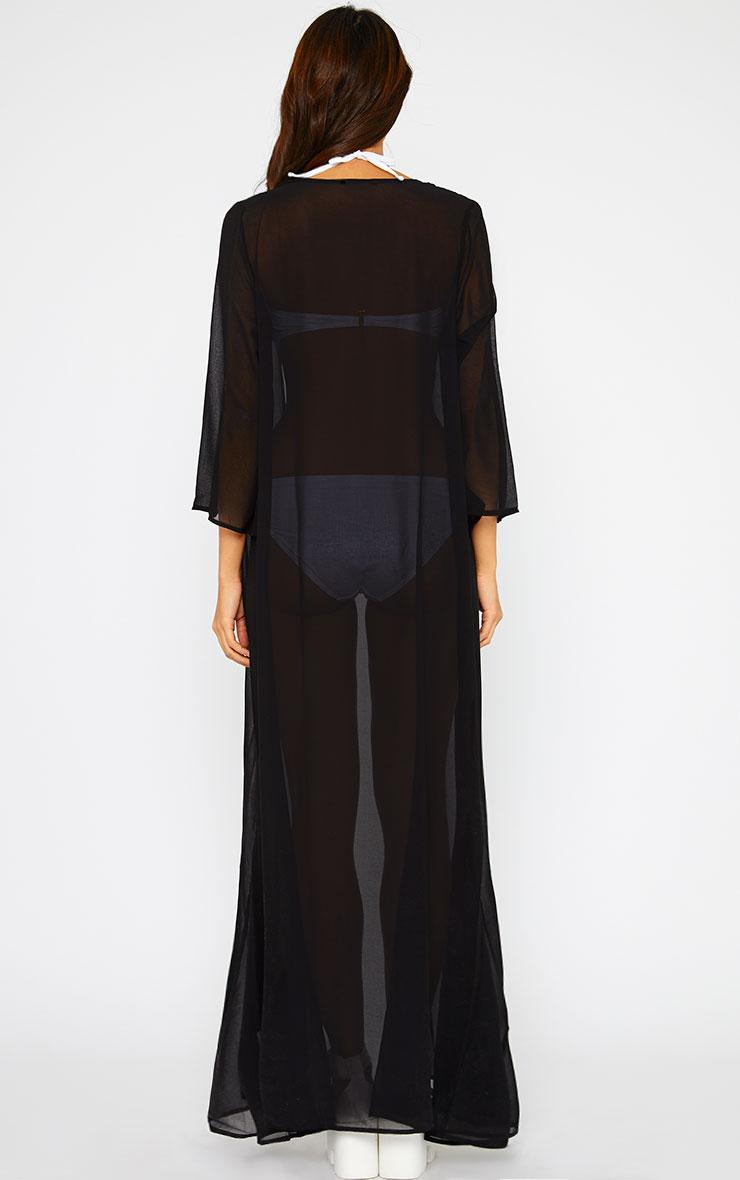 Zaidee Black Full Length Sheer Kimono 2