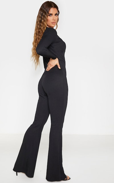 Tall Black Wide Leg Flared Rib Jumpsuit