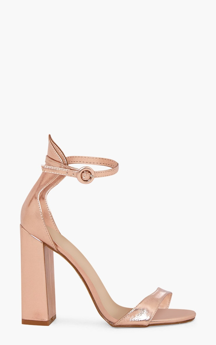 Rose Gold PU Block High Heeled Sandals 3