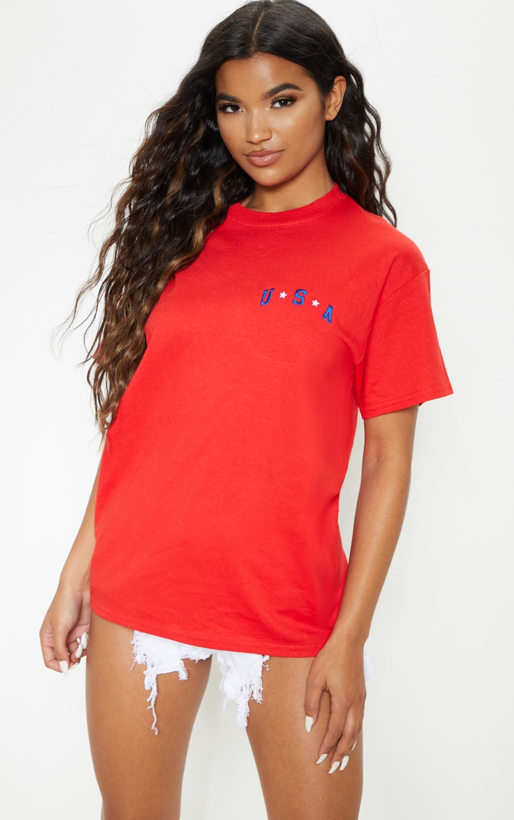 Red USA Star Embroidered Graphic Oversized T Shirt 1