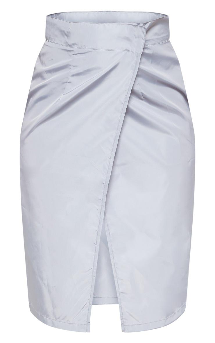 Grey Wrap Over Shell Midi Skirt 3