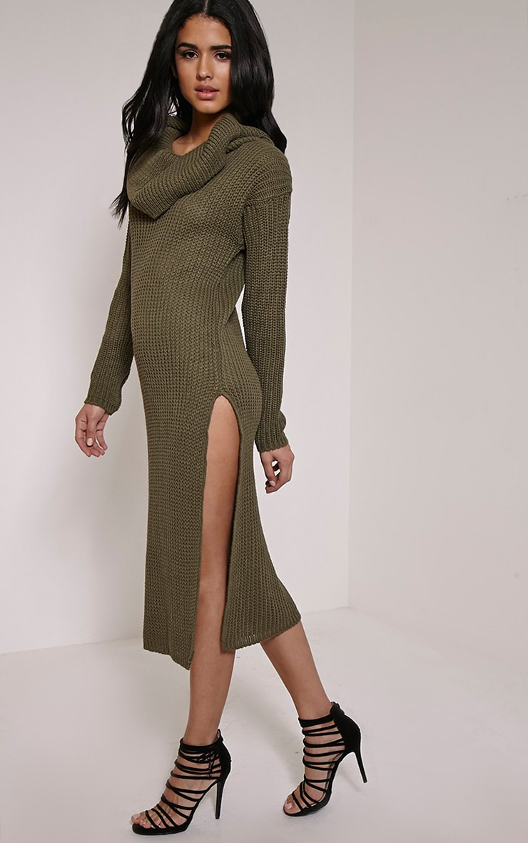 Braven Khaki Cable Knit Maxi Jumper Dress 1