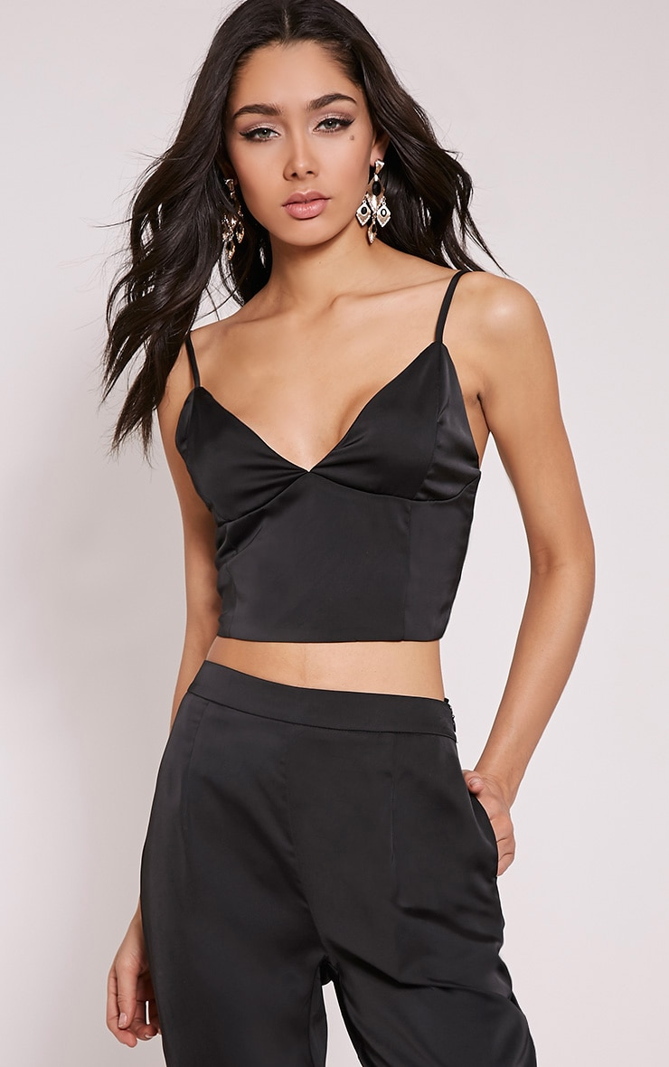 Norma Black Satin Bralet 1