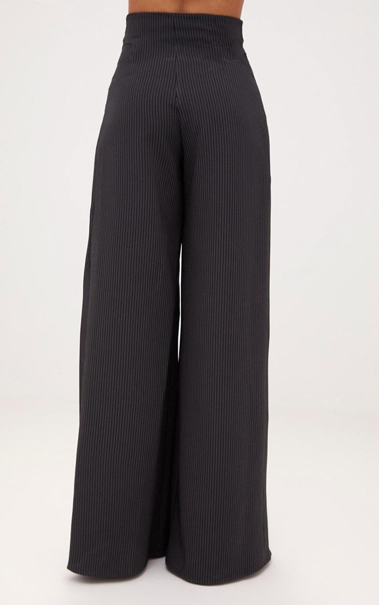 Black Pinstripe Lace Up Wide Leg Trousers 4