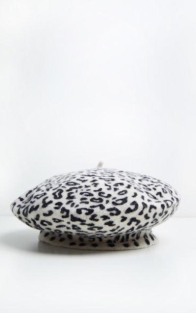 Cream Leopard Print Beret