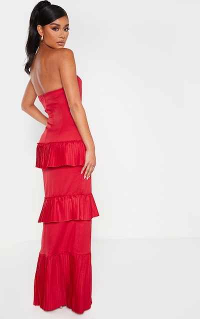 Scarlet Pleated Tiered Bandeau Maxi Dress