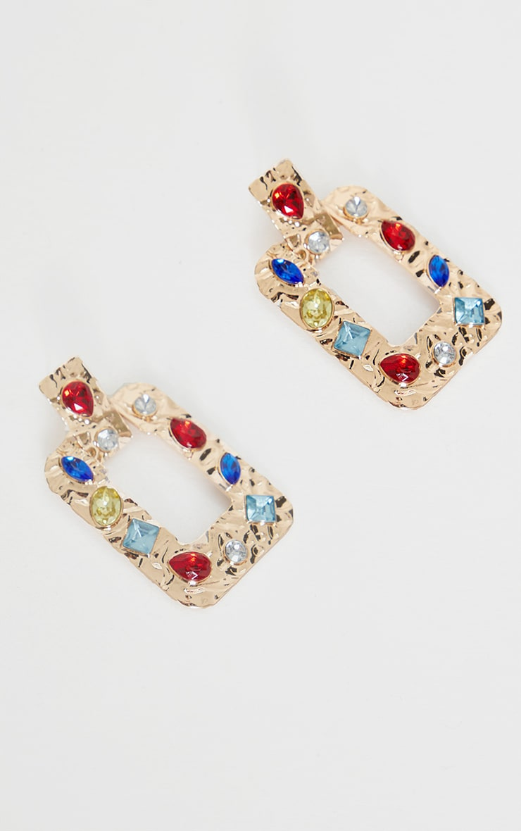 Gold Multi Gemstone Door Knocker Earrings 2