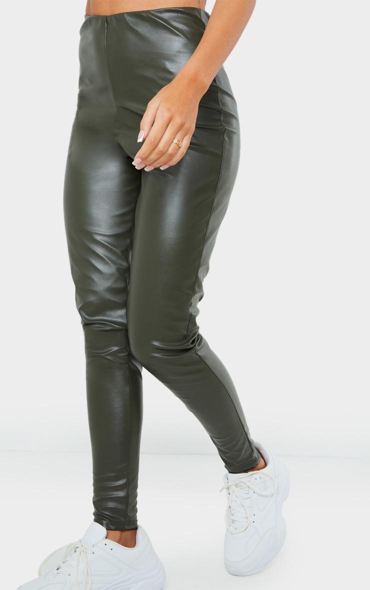 Khaki Faux Leather Leggings 2