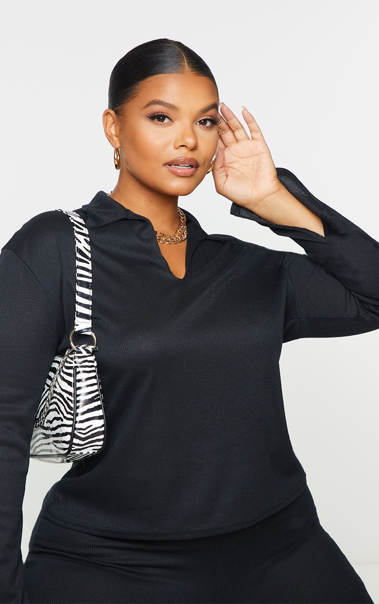 Plus Black Ribbed Collared Long Sleeve Top 4