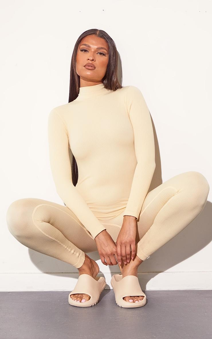 Cream Structured Contour Rib High Neck Jumpsuit 3