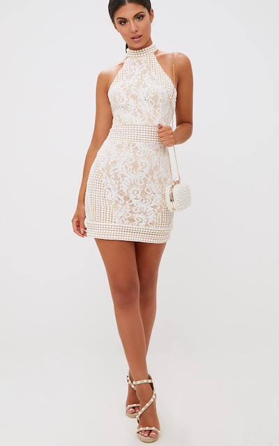 b16368eef416 White High Neck Lace Crochet Bodycon Dress