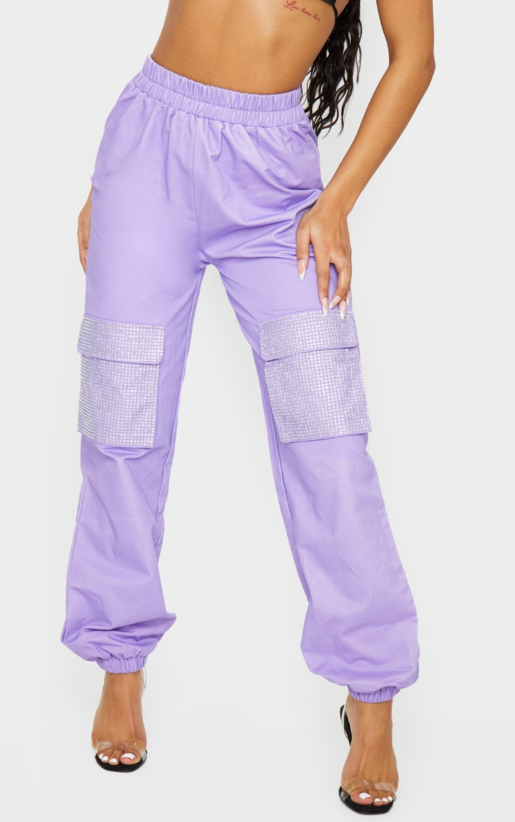Lilac Diamante Pocket Detail Cargo Pants 2