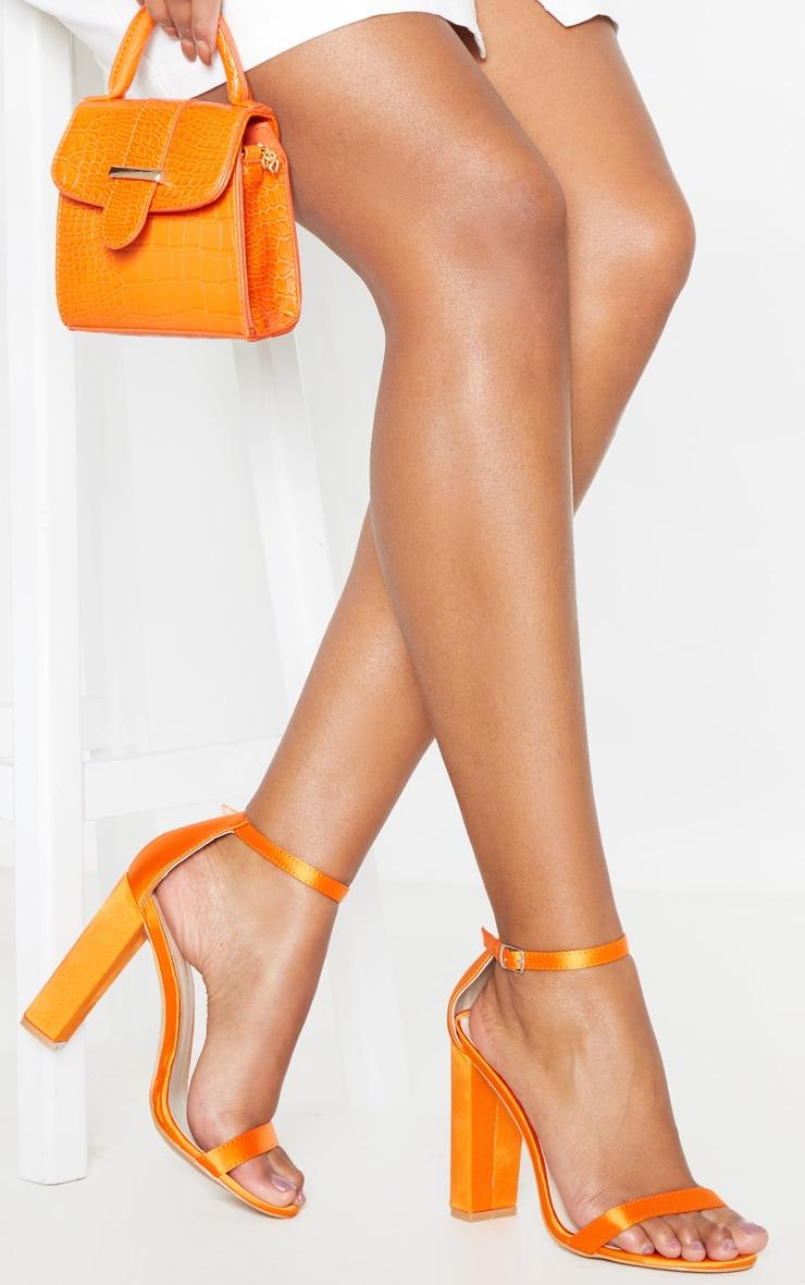 Orange Satin May Block Heel Sandal 1