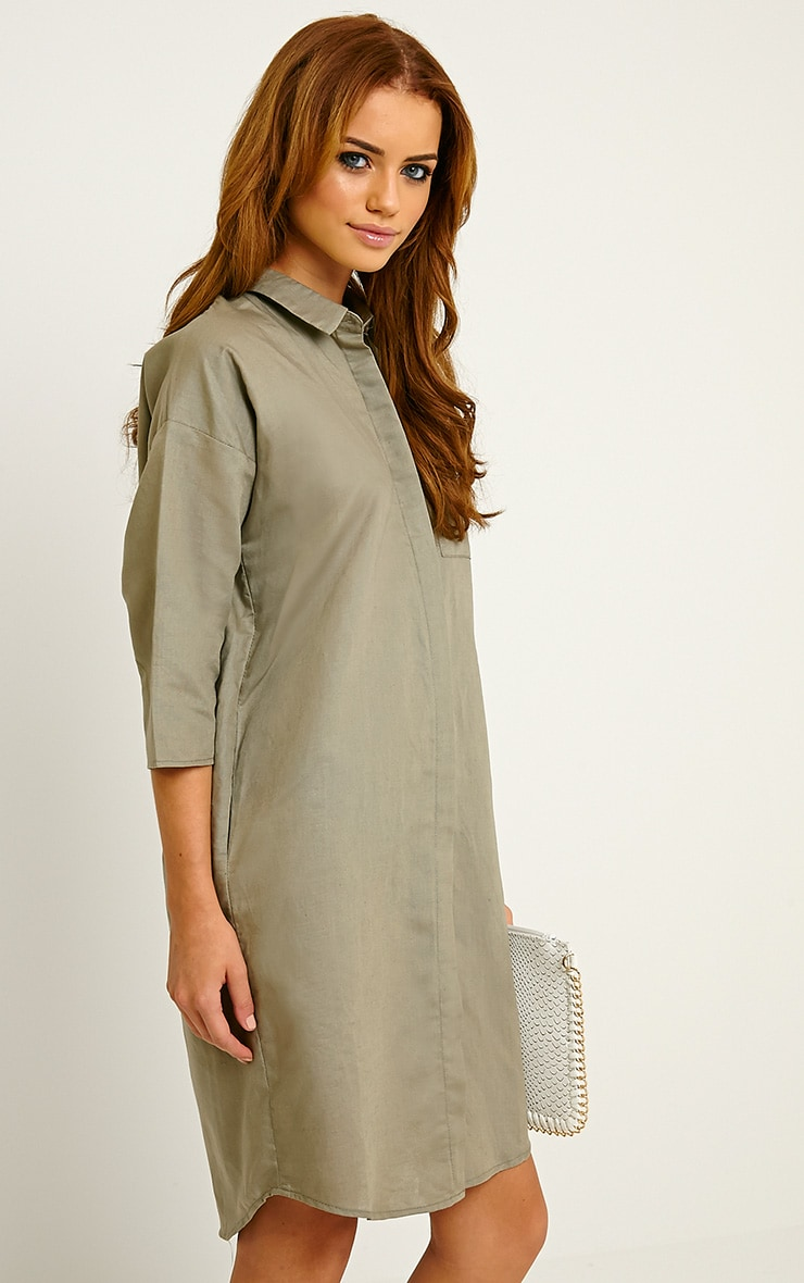 Franca Khaki Oversized Shirt Dress 4