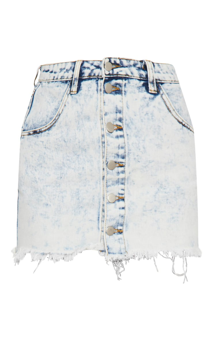 Bleach Wash Button Through Frayed Hem Mini Skirt 3
