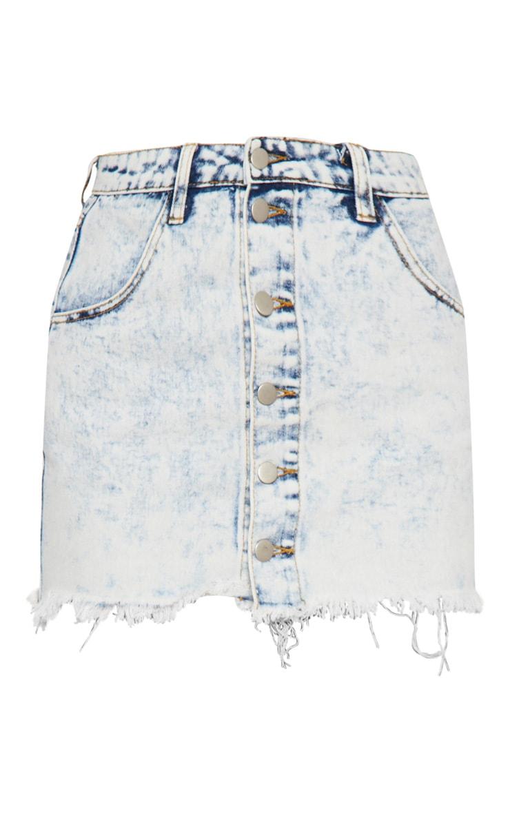 Bleach Wash Button Through Frayed Hem Mini Skirt  3