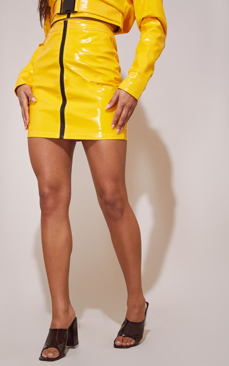 Yellow Vinyl Zip Detail Mini Skirt 5