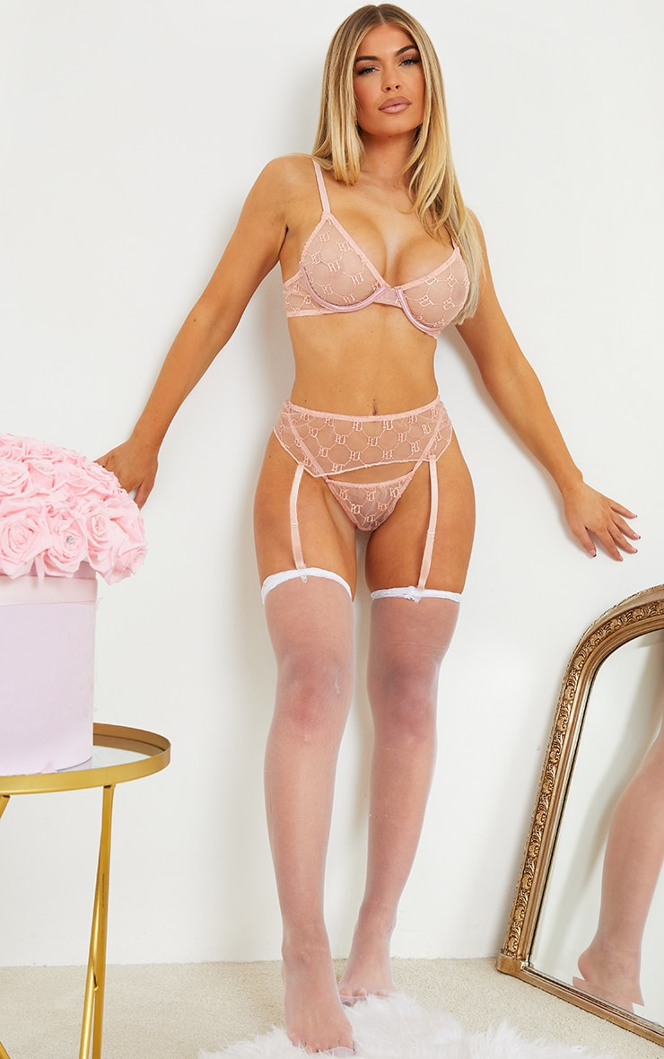 PRETTYLITTLETHING Nude Embroidered Mesh Underwired 3 Piece Lingerie Set 3