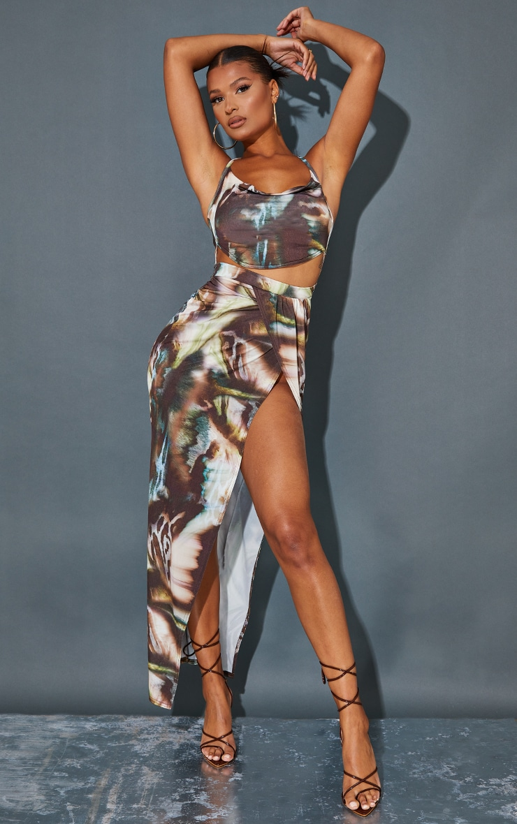 Multi Abstract Print Slinky Cowl Neck Cut Out Maxi Dress 1