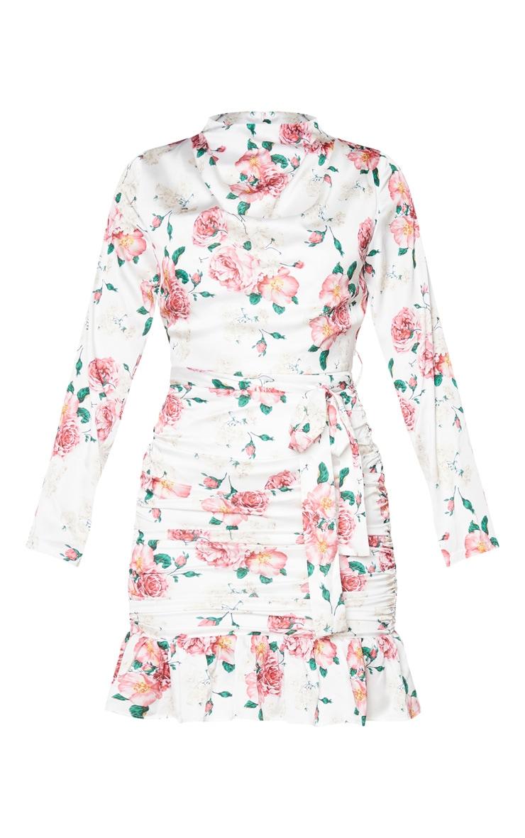 White Floral Print Satin Ruched Skirt Frill Hem Bodycon Dress 5