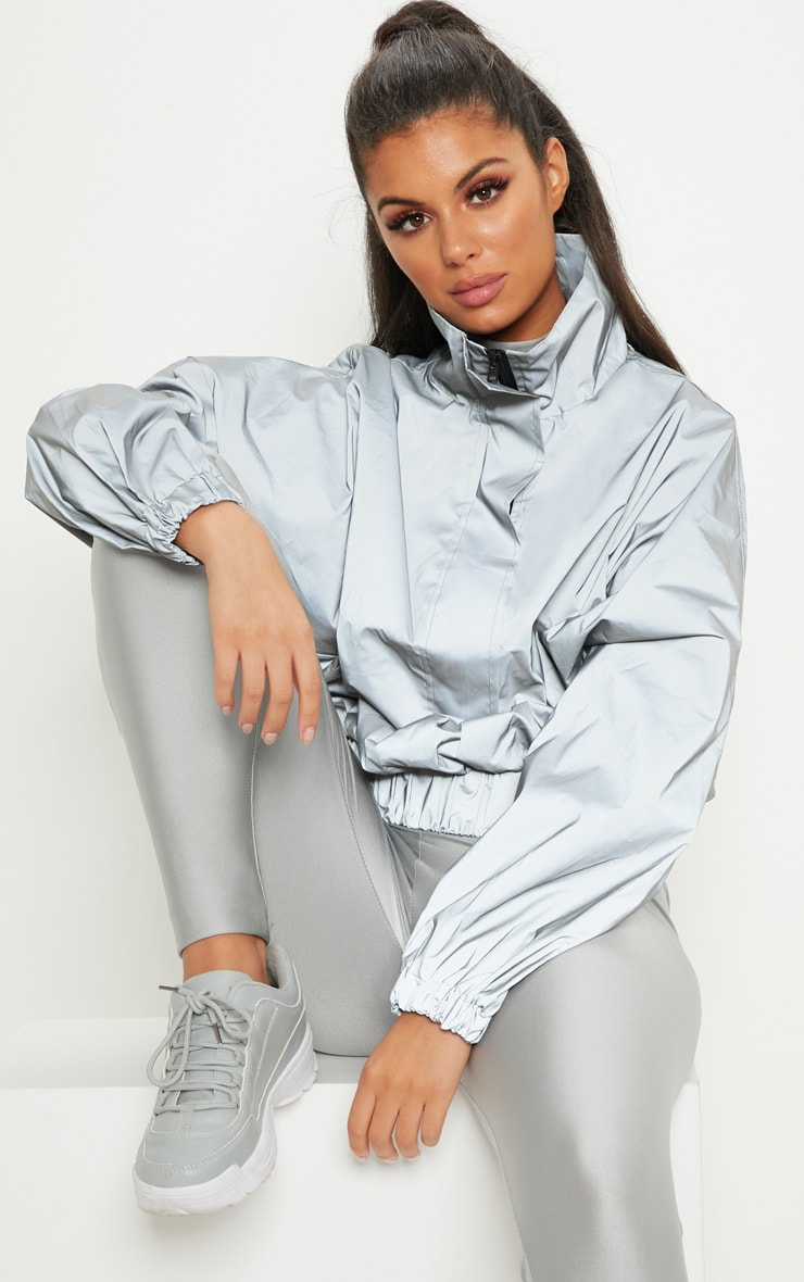 Grey Reflective Oversized Windbreaker 1