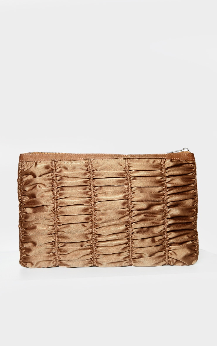 Nude Satin Oversized Ruched Clutch 2