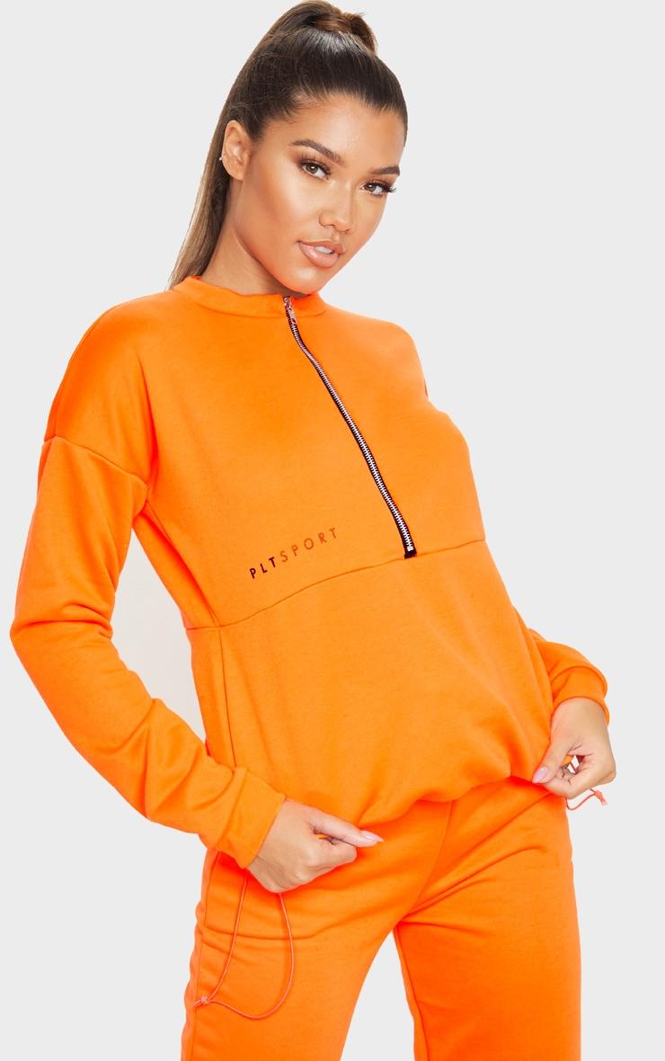 PRETTYLITTLETHING Orange Oversized Zip Up Sweatshirt 1