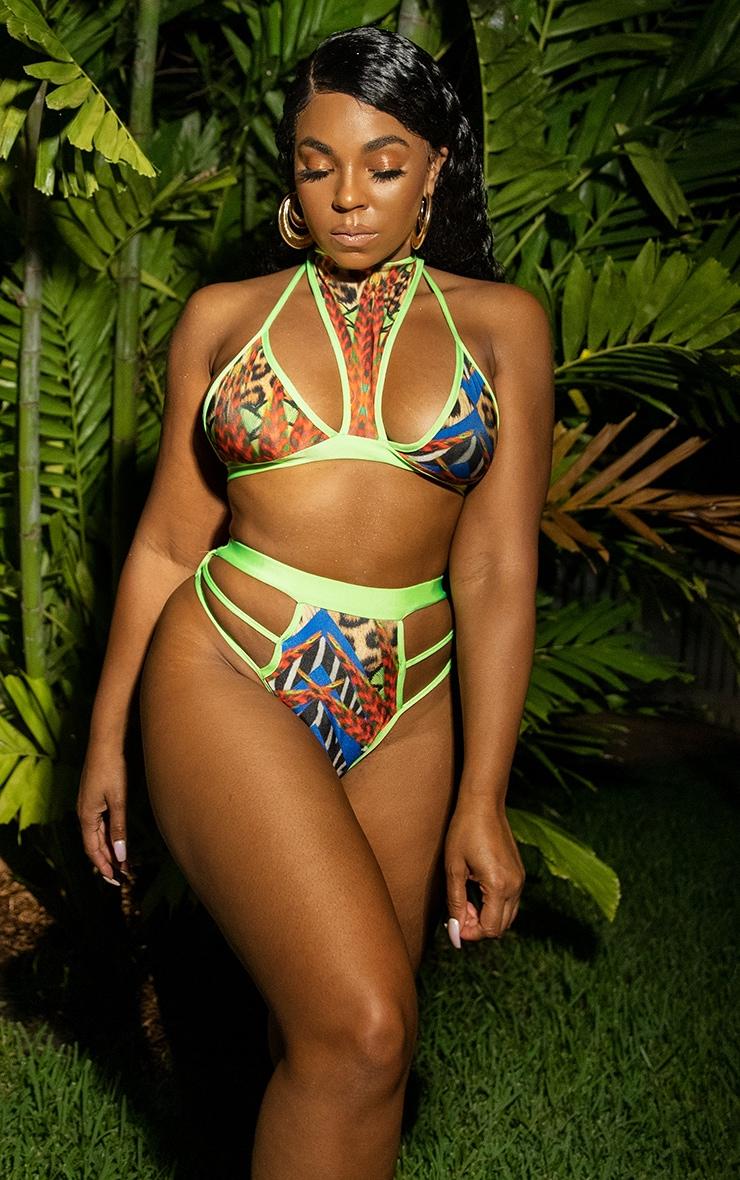 Multi Mixed Jungle Print Strappy Bikini Bottom 1